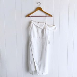 NWT Laundry Asymmetric Cocktail Dress White Slit
